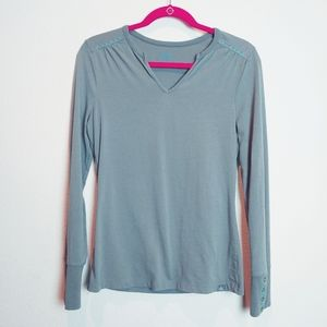 Prana V-Neck Stitch Detail Snap Button LS Tee